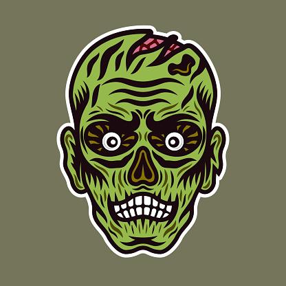 Ilustración vectorial de cabeza de zombie en colorido estilo de dibujos animados aislado sobre fondo verde claro