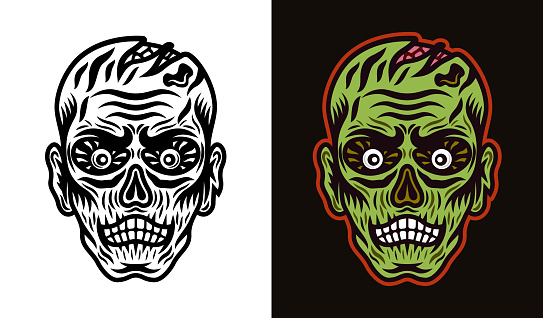Zombie head vector illustration in two styles black on white and colorful on dark background