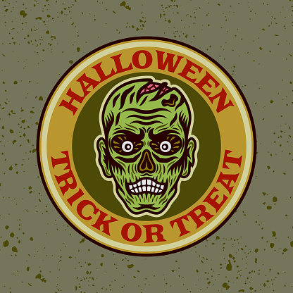 Zombie head vector round colored emblem, badge, label or logo in cartoon style illustration