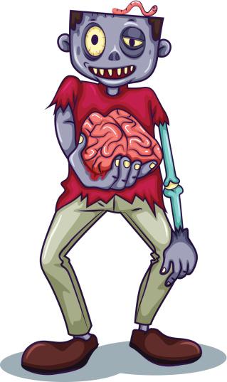 Zombie holding his brain