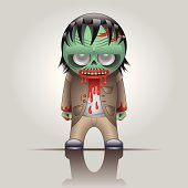 Icon zombie. Has risen from the dead corpse stained with fresh blood.