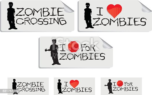 Some great little Zombie decals with the corner lifted for that dimensional look. Print ready files also included for you convenience. Thanks for looking!