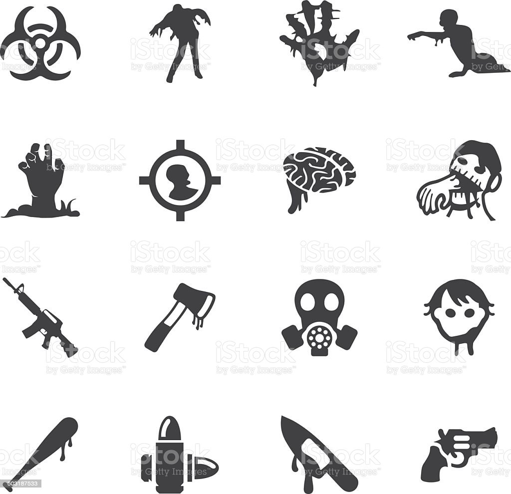 Zombie Land Silhouette icons | EPS10 royalty-free stock vector art