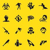 Zombie Land Yellow Silhouette icons| EPS10