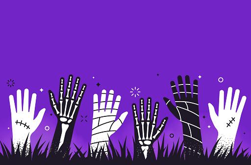 Zombie Mummy Skeleton Halloween Hands Background