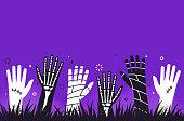 istock Zombie Mummy Skeleton Halloween Hands Background 1264292172