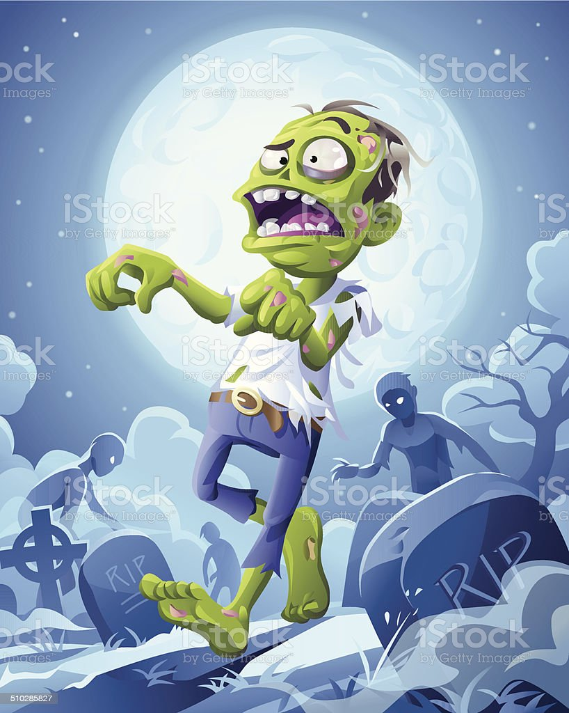 Zombie Night vector art illustration