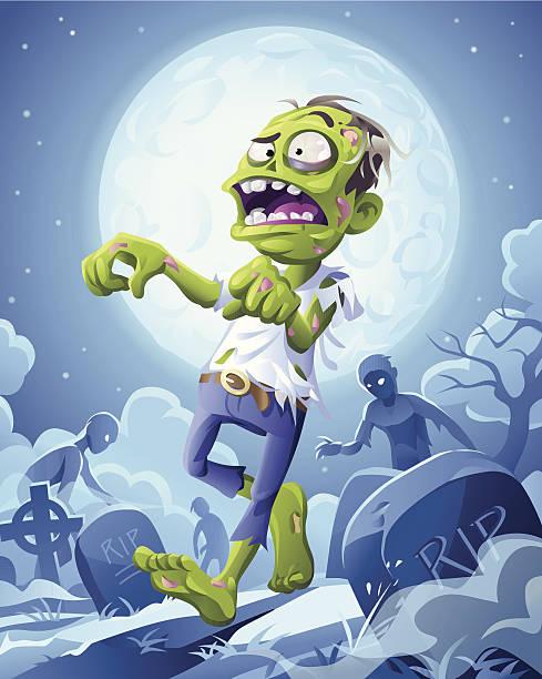 ilustraciones, imágenes clip art, dibujos animados e iconos de stock de zombie la noche - monstruos de dibujos animados