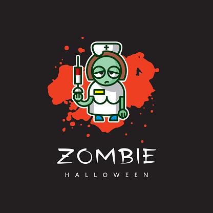Zombie nurse image - vector cartoon character.