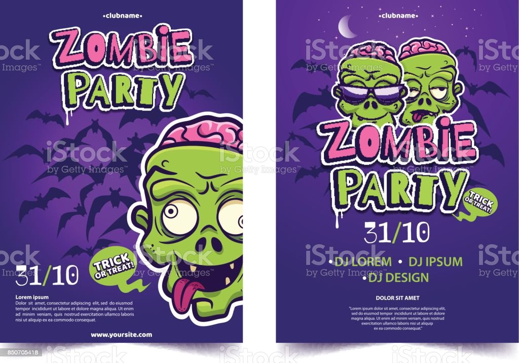 Zombie Party A4 Invitation Banner Funny Cartoon Monster Face On ...