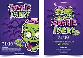 Zombie party a4 invitation banner. Funny cartoon monster face on lilac background with silhouette of bats. Halloween costume party concept. Applicable for flyer,poster, banner. Vector illustration.