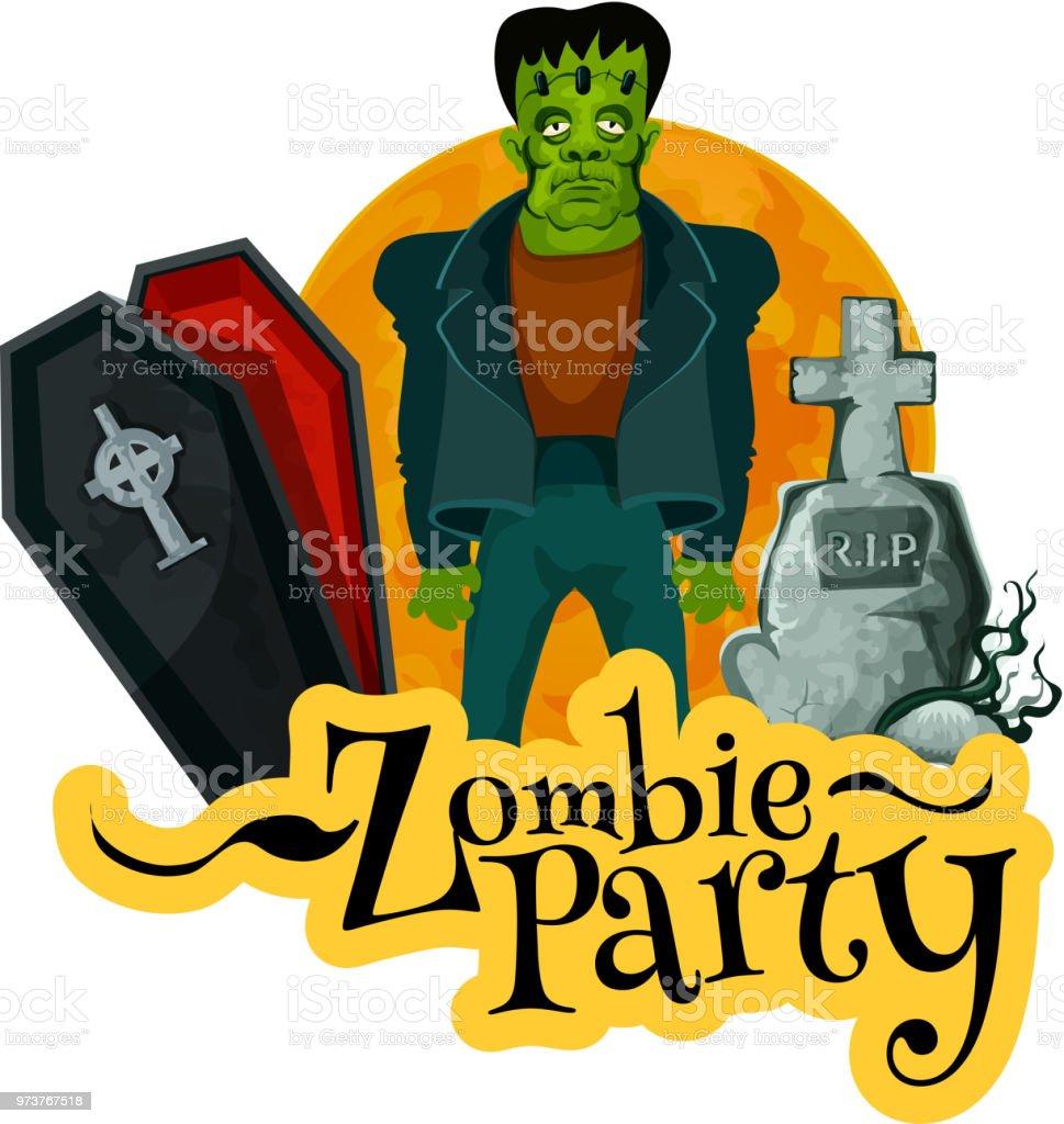 Ilustración De Tarjeta De La Invitación De Parte Del Zombie
