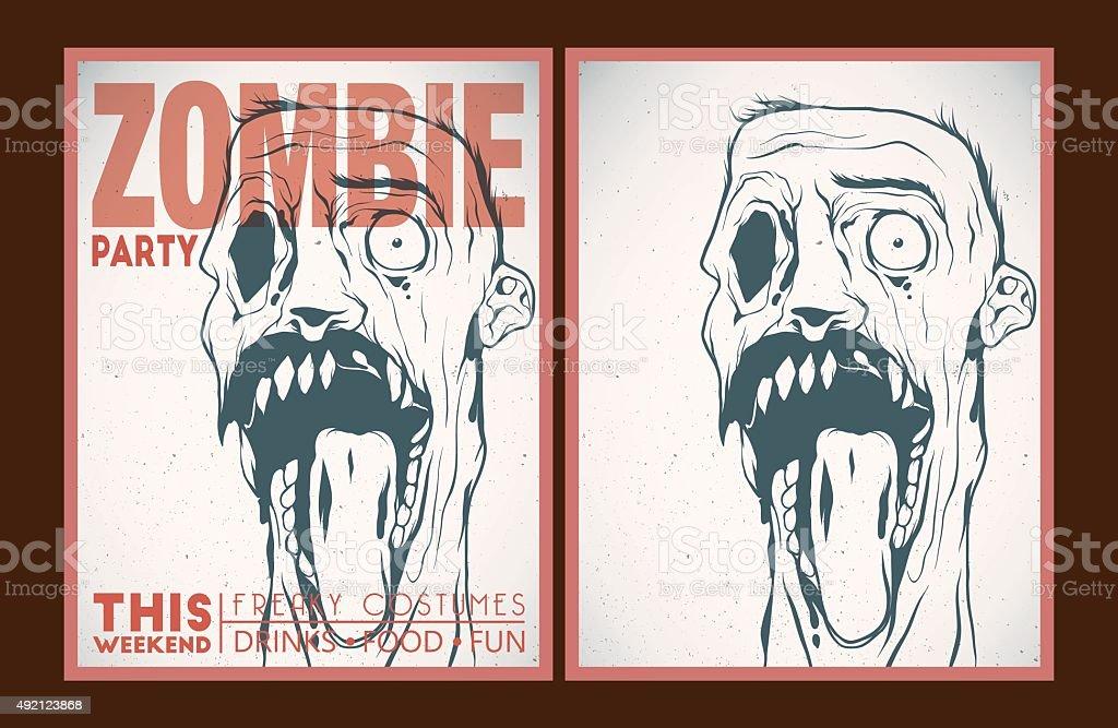 Zombie party placard set vector art illustration