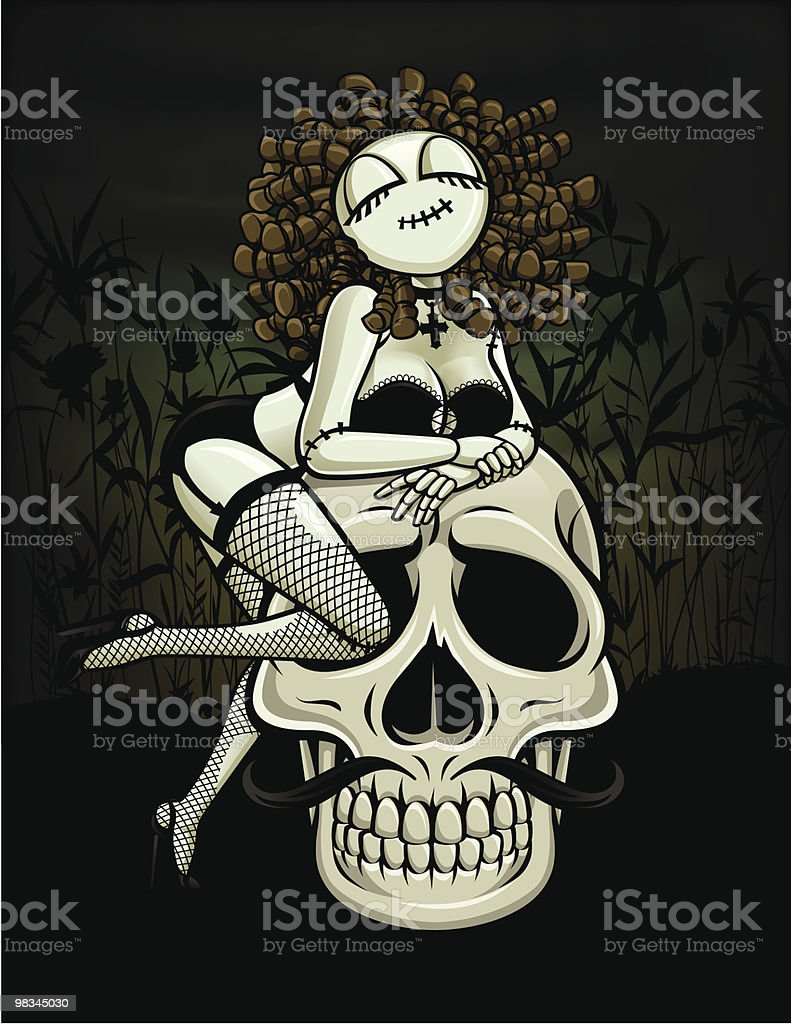 Zombie Pin-Up Girl: Skull Lover royalty-free zombie pinup girl skull lover stock vector art & more images of adult