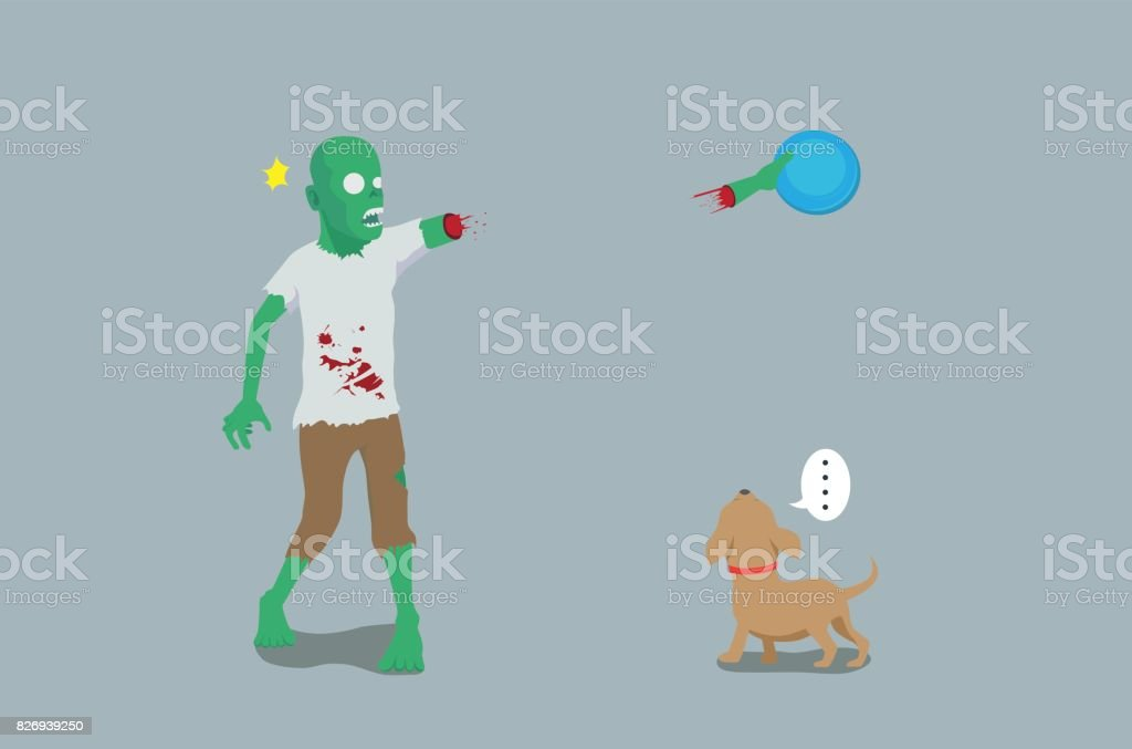 Zombie play throw and grab a disc with dog and his arm off. vector art illustration