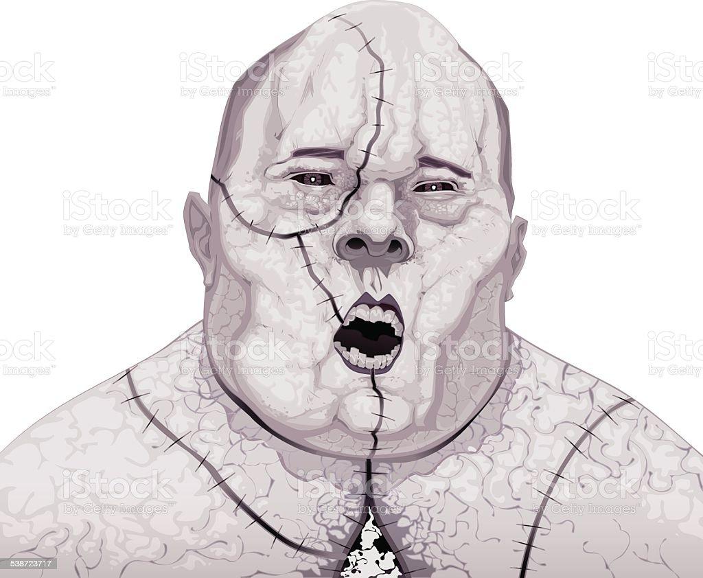 Zombie portrait vector art illustration