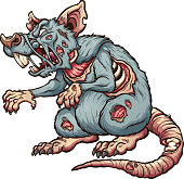 Menacing zombie rat. Vector clip art illustration with simple gradients. All in a single layer.