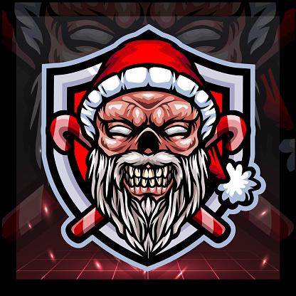 Zombie santa claus mascot. esport logo design
