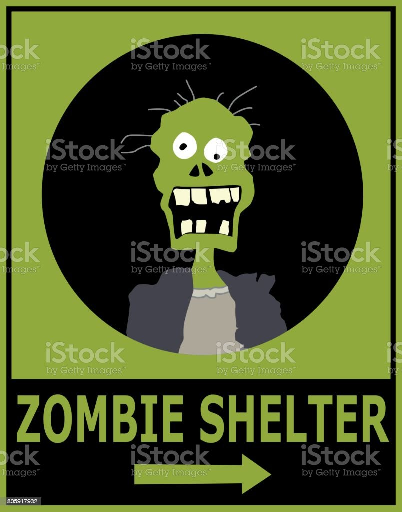 Zombie Shelter Sign Stock Vector Art & More Images of Accidents and ...