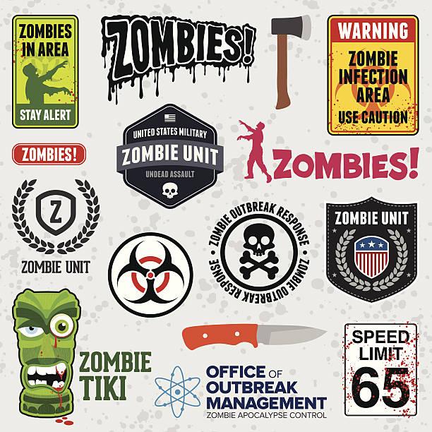 bildbanksillustrationer, clip art samt tecknat material och ikoner med zombie signs - zombie