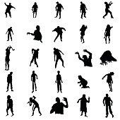 Zombie silhouettes set