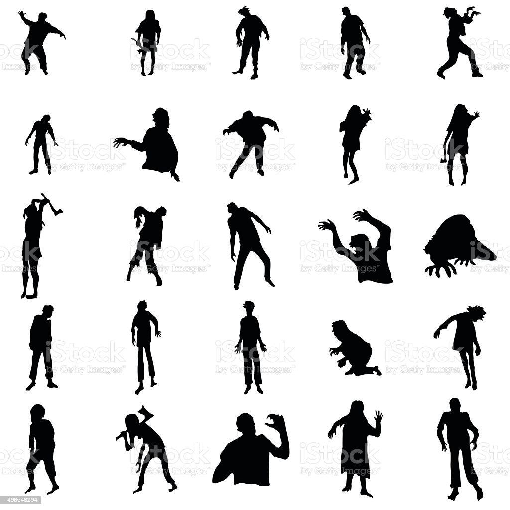 Zombie silhouettes set vector art illustration