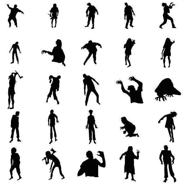 bildbanksillustrationer, clip art samt tecknat material och ikoner med zombie silhouettes set - zombie