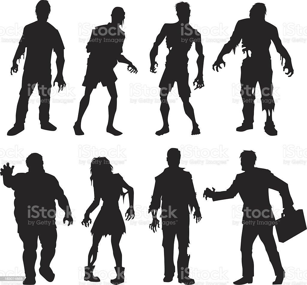 zombie silhouettes vector art illustration