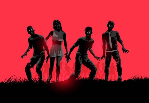 bildbanksillustrationer, clip art samt tecknat material och ikoner med zombie silhuetter - zombie