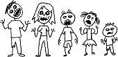 illustration of a zombie stick figure family