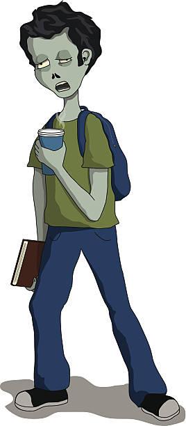 bildbanksillustrationer, clip art samt tecknat material och ikoner med zombie student - coffe with death