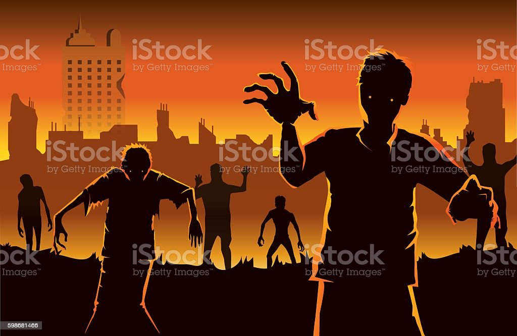 Zombie walking out from abandoned city. vector art illustration