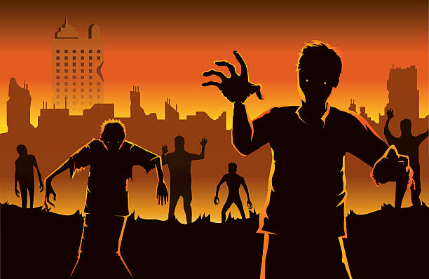 Zombie walking out from abandoned city. Zombie walking out from abandoned city. Silhouettes illustration about Halloween concept. spooky halloween town stock illustrations