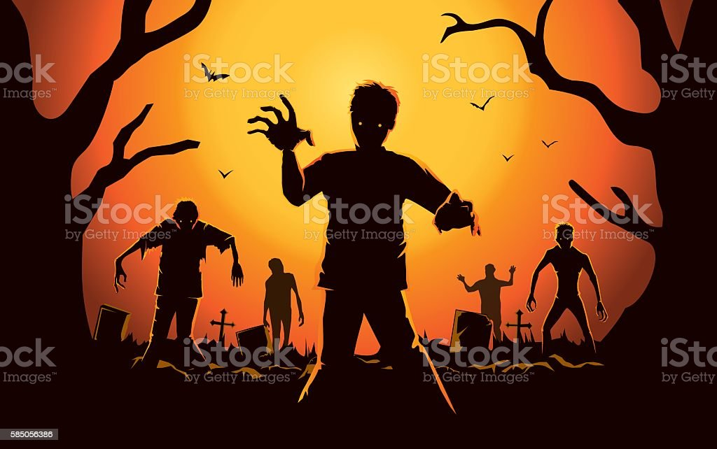 Zombie walking out from grave. vector art illustration