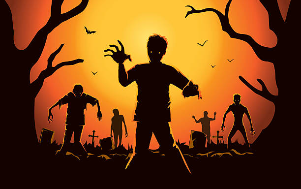 bildbanksillustrationer, clip art samt tecknat material och ikoner med zombie walking out from grave. - zombie