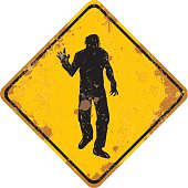 grungy zombie warning sign