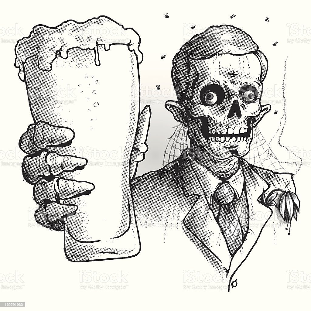 Zombie Wearing Suit Drinking Glass of Beer, Black and White royalty-free stock vector art
