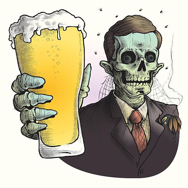 zombie trägt anzug trinkt ein glas bier - elegante kleidung stock-grafiken, -clipart, -cartoons und -symbole