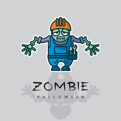 Zombie worker with helmet and skeleton hand - vector cartoon character.