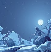 Zombies on a foggy cemetery rising from their graves. In the background is a dark blue sky, a bright full moon, clouds and stars. Spooky vector illustration for Halloween with space for text.