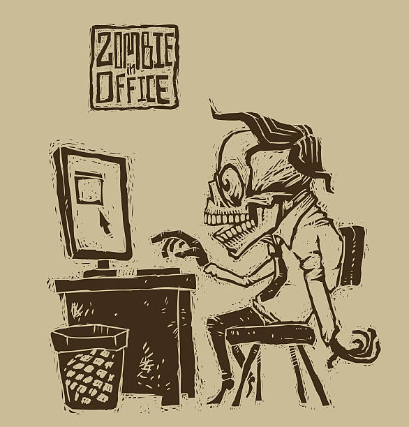 zombies in a shirt and tie at the computer - old man funny pictures stock illustrations