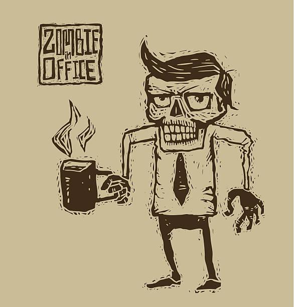 bildbanksillustrationer, clip art samt tecknat material och ikoner med zombies in shirt and tie with a mug of coffee - coffe with death