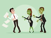 Zombies office workers businessman characters