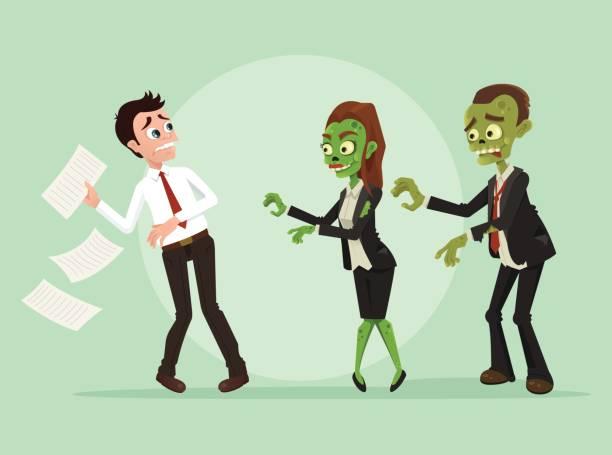 bildbanksillustrationer, clip art samt tecknat material och ikoner med zombies office arbetstagare affärsman tecken - zombie