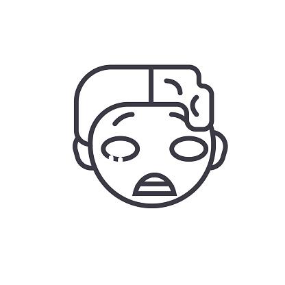 Zomby Emoji concept line editable vector, concept icon. Zomby Emoji concept linear emotion illustration
