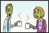 Great illustration of a pair of zombie workers having a coffee break. Perfect for a workplace illustration. EPS and JEPG files included. Be sure to view my other illustrations, thanks!