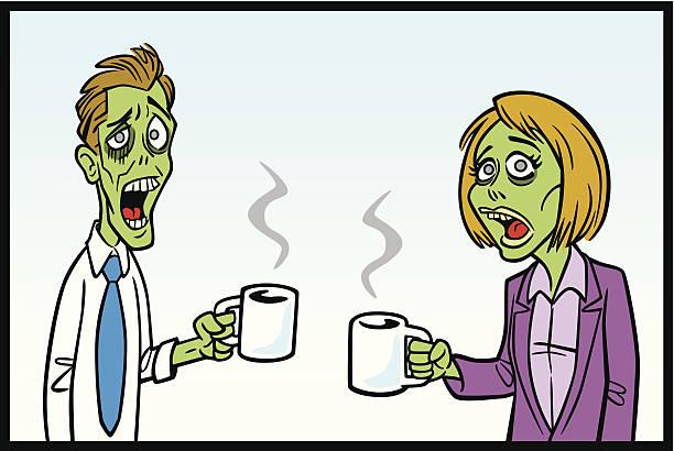 bildbanksillustrationer, clip art samt tecknat material och ikoner med zomibe workers with coffee - coffe with death