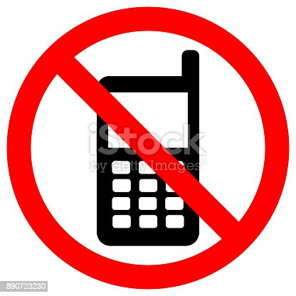 No Cell Phones Zone Sign Keep Silence Symbol Button Mobile Phone
