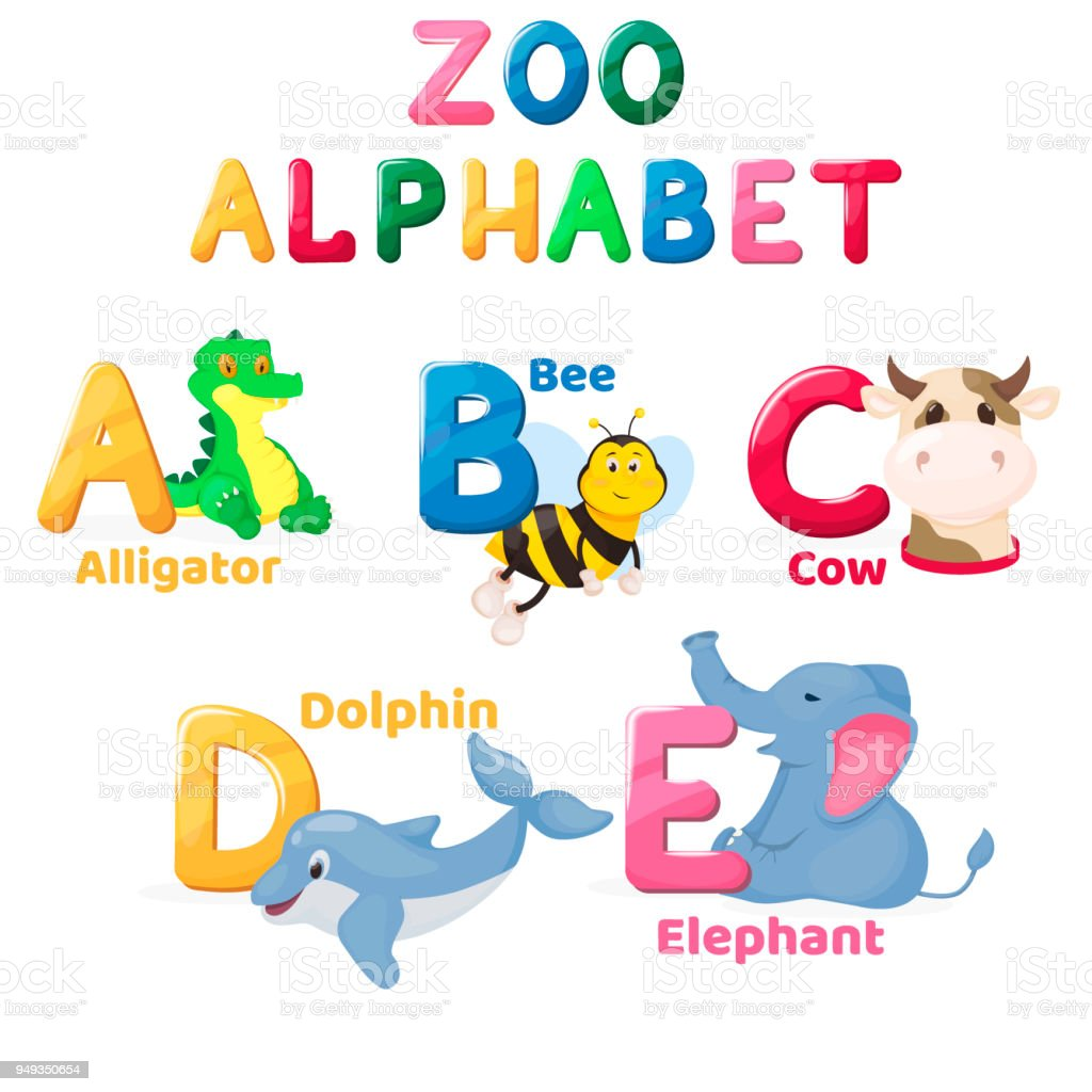 Zoo Alphabet Animal Letters Cartoon Cute Characters ...