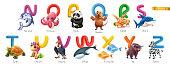 Zoo alphabet. Funny animals, 3d vector icons set. Letters N - Z Part 2. Narwhal, octopus, panda, quokka, rabbit, shark, turtle, unicorn, vulture, whale, x-ray fish, yak, zebra